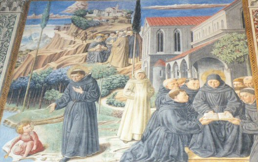 Gozzoli 12  3 legends St. Augustine and the Holy Trinity the Visit to the monks of Mount Pisano Augustine explaining the Rule / Legenden rond Augustinus